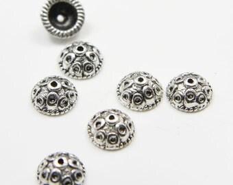 40pcs Oxidized Silver Tone Base Metal Caps- 9.5mm (5197Y-K-87A)