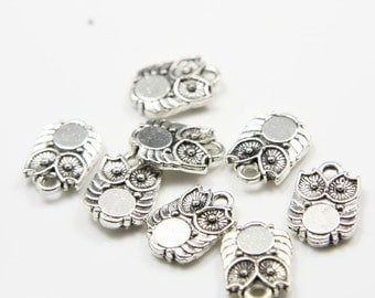 20pcs Oxidized Silver Tone Base Metal Charms-Owl 14x10mm (2825X-E-117A)