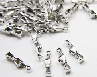 50pcs Oxidized Silver Tone Base Metal Charms-Spacer-Hand 18x4mm (8326Y-E-68A)