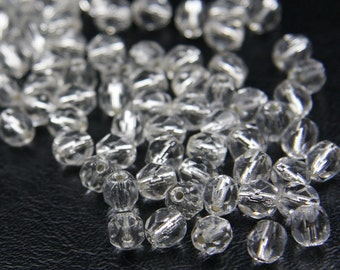 30pcs Czech Fire Polish Faceted Round-Crystal/ Silver Lined 6mm (FP6185)