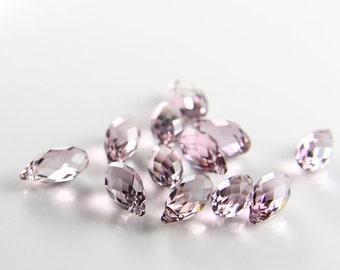 2pcs Swarovski Drop 6010 Briolette-Antique Pink Crystal 11x5.5mm (SW83701)