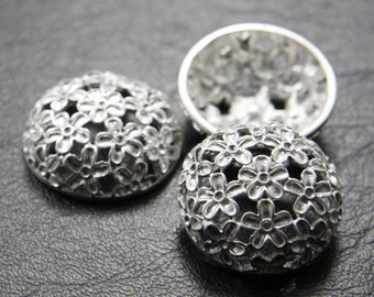 4pcs Matte Silver Tone Base Metal Pendants-Flower 26x9mm (248C)