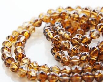 30pcs Czech Glass Beads Round Nuggets - Smoke Topaz 8mm (PG238901)