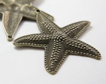 2pcs Antique Brass Tone Base Metal Charms-Starfish 63x67mm (5433Y-H-139B)