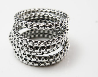 6pcs Oxidized Silver Tone Base Metal Ring-Textured Ring 37mm (10804Y-G-266)