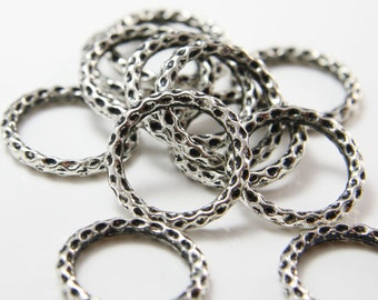12pcs Oxidized Silver Tone Base Metal Ring-Textured Ring 25mm (10805Y-G-267)