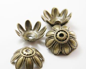 8pcs Antique Brass Tone Base Metal Flower Caps-27mm (11791Y-K-50B)
