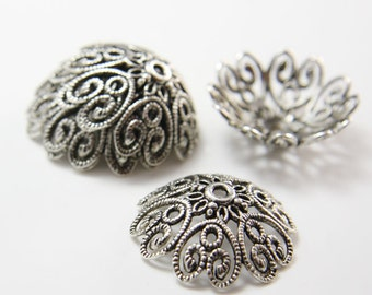 6pcs Oxidized Silver Tone Base Metal Flower Caps-28mm (13783Y-K-114A)