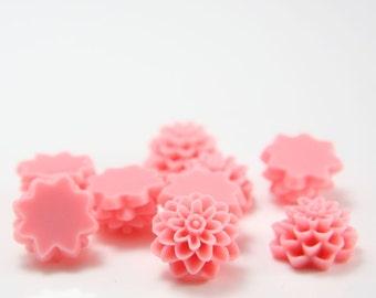 8pcs Acrylic Flower Cabochons-Pink 14mm (5F2)