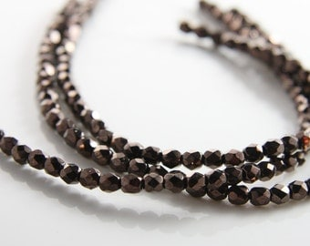 100pcs Czech Fire Polish Glass Faceted Round-Jet or Bronze Luster Coated 4mm (FP9504014s8)