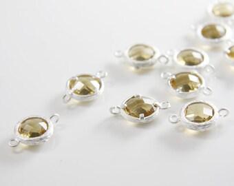 4pcs Matte Silver Tone Framed Glass Round Links-Champagne 12mm (J-156)