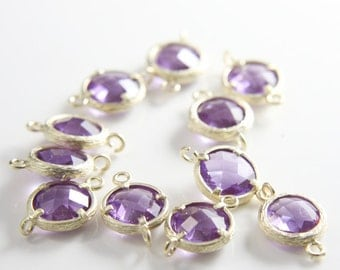 4pcs Matte Gold Tone Framed Glass Round Links-Amethyst 12mm (J-162)