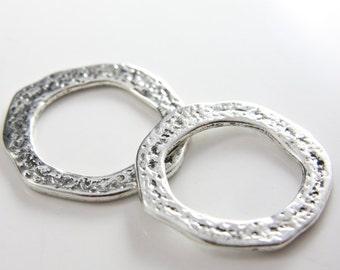 2pcs Oxidized Silver Tone Base Metal Rings- 41mm (15051Y-G-111A)