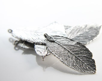 6pcs Oxidized Silver Tone Basae Metal Charms - Leaf 48x19mm (26363Y-H-92A)