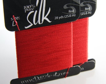 28 Yards (25.6 Meters) 100% Silk Thread-Red Size D