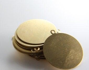 2pcs Brass Metal Blank-Stamp on - Metal stamping - Round With Ring 25mm (210701)