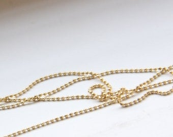 3 Feet Premium Matte Gold Plated Brass Chains-Ball 1mm (424C06)