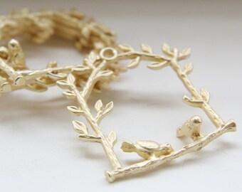 4pcs 16k Matte Gold Plated Base Metal Pendants-Birds on Branch 32x30mm (58C-R-53)