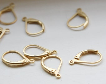 4pcs (2 Pairs) Premium Matte Gold Plated Brass Base Earring Hooks-Lever Back 16x10mm (321C-I-26)