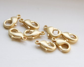 20pcs Matte Gold Plated Brass Base Lobster Clasps-12mm (322C-I-36)