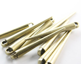 10pcs Antique Brass Tone Base Metal Spacers-Conical or Spikes Point of View 52x6mm (3822X-B-344)