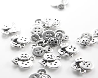 18pcs Oxidized Silver Base Metal Charms-Button 14.5x14mm (26351Y-H-224)