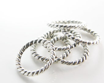 6pcs Oxidized Silver Tone Base Metal Rings-22mm (10134Y-B-395)