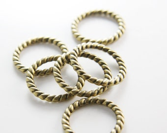 6pcs Antique Brass Tone Base Metal Rings-22mm (10134Y-B-394)