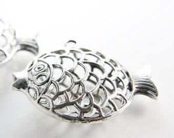 2 Pieces Oxidized Silver Tone Base Metal Pendants-Fish 56x50mm (13317Y-B-401)