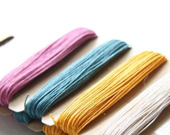 1 Package of Spring Colors Hemp -  4 colors of  41.9 feet -  0.5mm -10lb (101007)