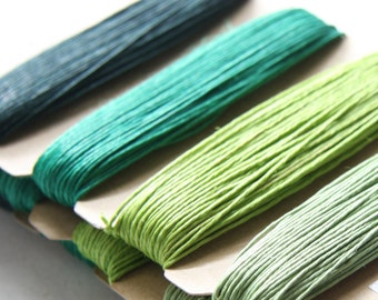 1 Package of Shades of Emerald Hemp -  4 colors of  41.9 feet -  0.5mm -10lb (101011)
