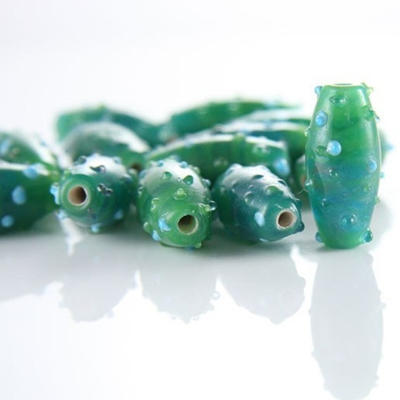 6pcs limited edition lampworked glass beads-Oval