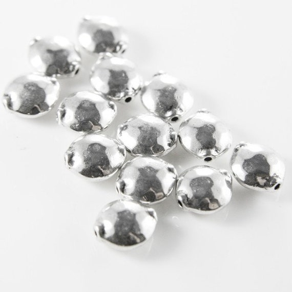 18pcs Oxidized Silver Tone Base Metal Spacers-Textured Puff Coin 13x11x6mm (8585Y-D-46A)