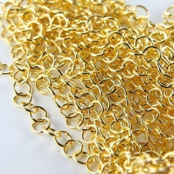 3 Feet Bright Gold Tone  Base Metal Chain-Ring (Medium)