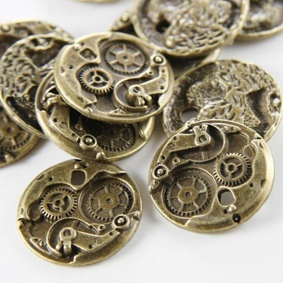 8pcs Antique Brass Base Metal Charms-Watch 25x25mm (3260X-E-328) (13886Y-ML)