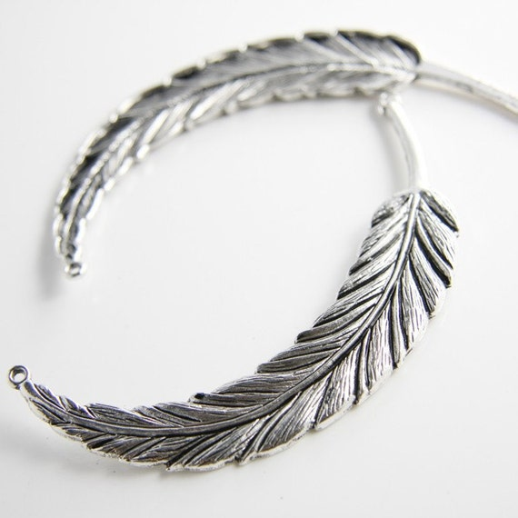 2 pcs Oxidized Silver Base Metal Link or Pendant -Feather 95x15mm (11677Y-H-149A)