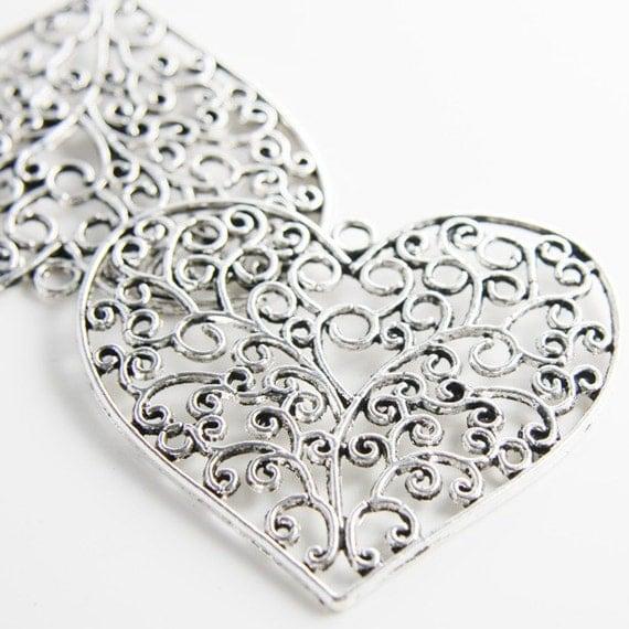 2pcs Oxidized Silver Tone Base Metal Pendants-Heart 64x57mm (11737Y-D-244A)