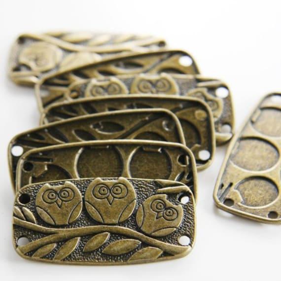6pcs Antique Brass Tone Base Metal Connectors-Near Rectangle-Owl 38x20mm (12930Y-C-96)