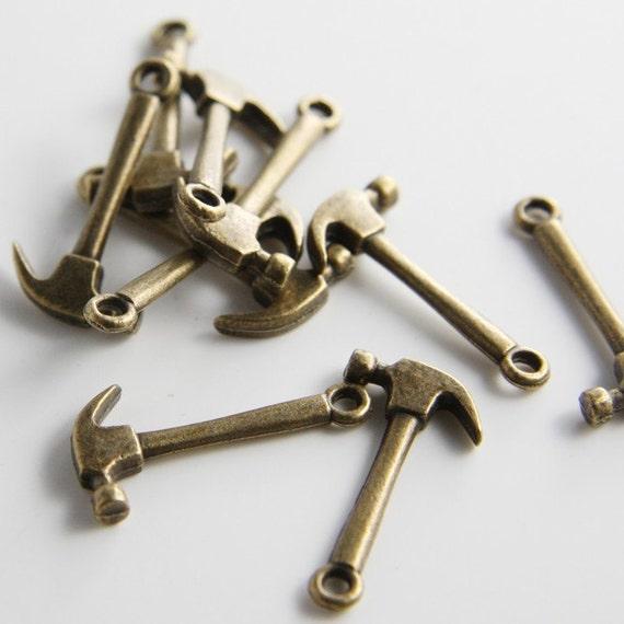 20pcs Antqiue Brass Tone Base Metal Charms-Hammer 28x13mm (11041Y-E-12B)