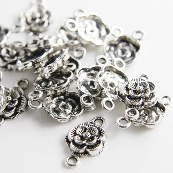 30pcs Oxidized Silver Tone Base Metal Link - Rose (11373Y-D-133A)