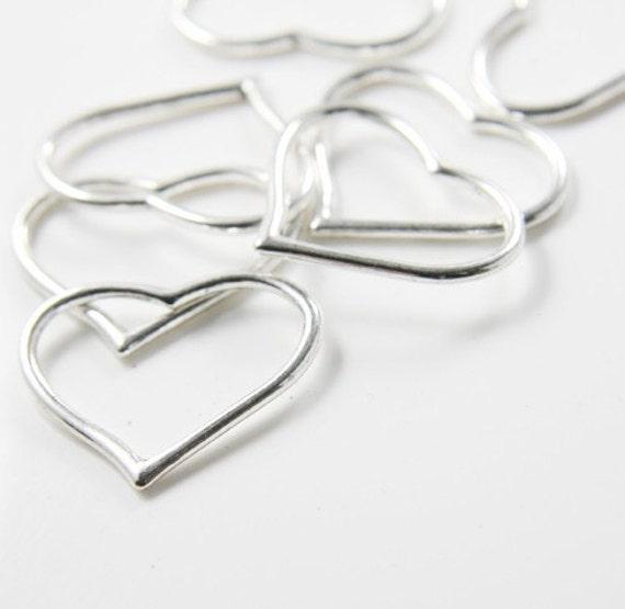 12pcs Oxidized Silver Tone Base Metal Charms-Heart 28x23mm (12980Y-H-144A)