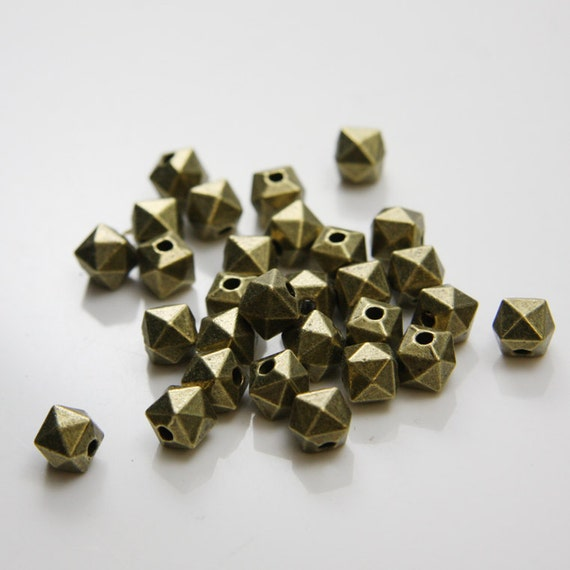 20pcs Antique Brass Tone Base Metal Spacers-8x7mm (298X-B-192B)