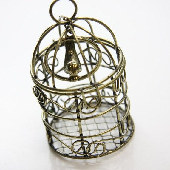 1pcs Antique Brass Pendant-Cage with Bird 78x48mm (C-103B)