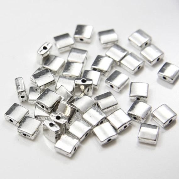 40pcs Oxidized Silver Tone Base Metal Spacers-Square 7mm (861Y-E-34)