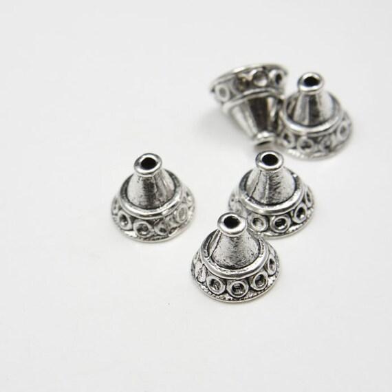 10pcs Oxidized Silver Tone Base Metal Cones-14x12mm (5118Y-K-63A)