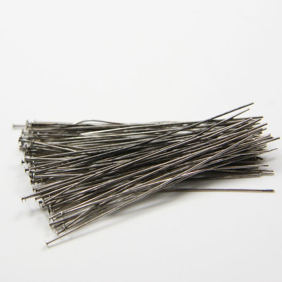 100pcs Oxidized Silver Tone Base Metal Head Pins-50mm (2 Inch) (FINE) (332C-I-88)
