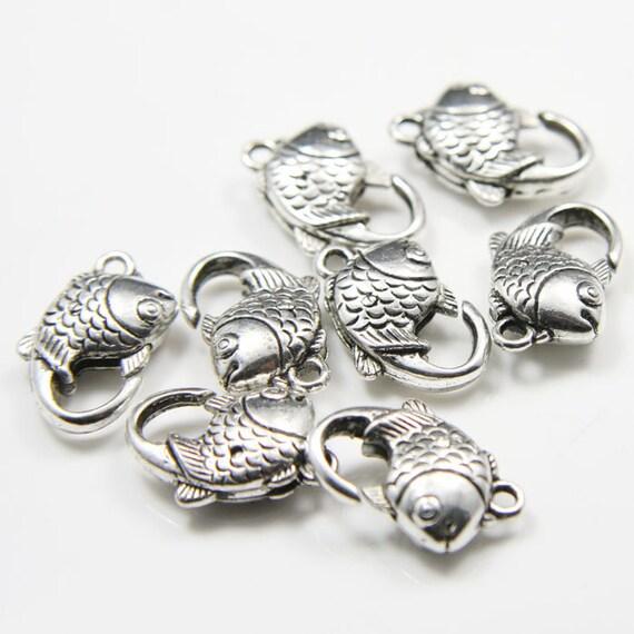 8pcs Oxidized Silver Tone Base Metal Clasps-Fish 18x13mm (15Y-K-135A)