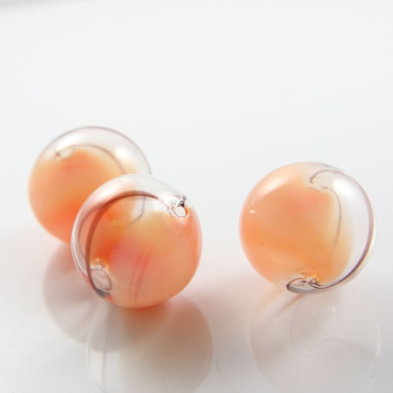 4pcs Hand Blown Hollow Glass Beads-Round with Peach and Brown lines 25mm (22H1)