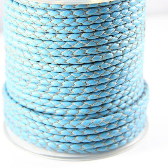 3 Feet European Turquoise Blue Braided Premium Leather Cord-Round 4mm (BL4016)
