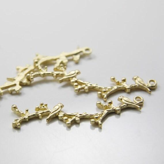 6pcs Matte Gold Tone Pendants-Birds On Branch 48x12mm (66C-R-83)